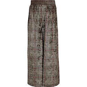 Grijze geruite fluwelen broek met wijde pijpen voor meisjes