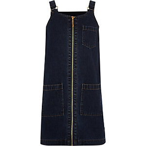 Girls blue denim zip front pinafore dress