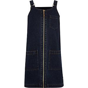 Robe chasuble en denim bleu zippée devant pour fille