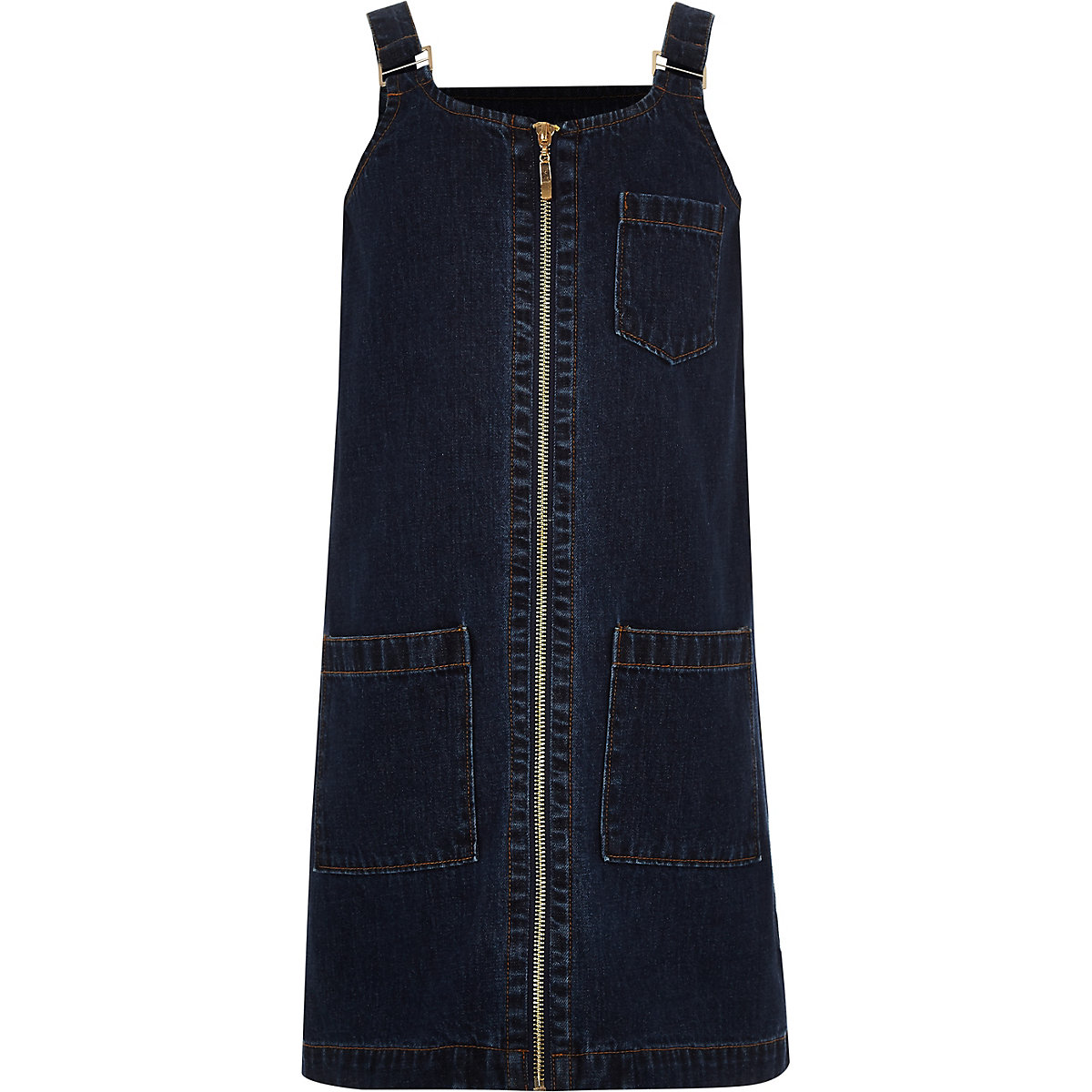 Girls blue denim zip front pinafore dress