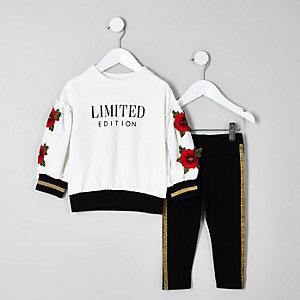 Geblümtes Sweatshirt-Set in Creme