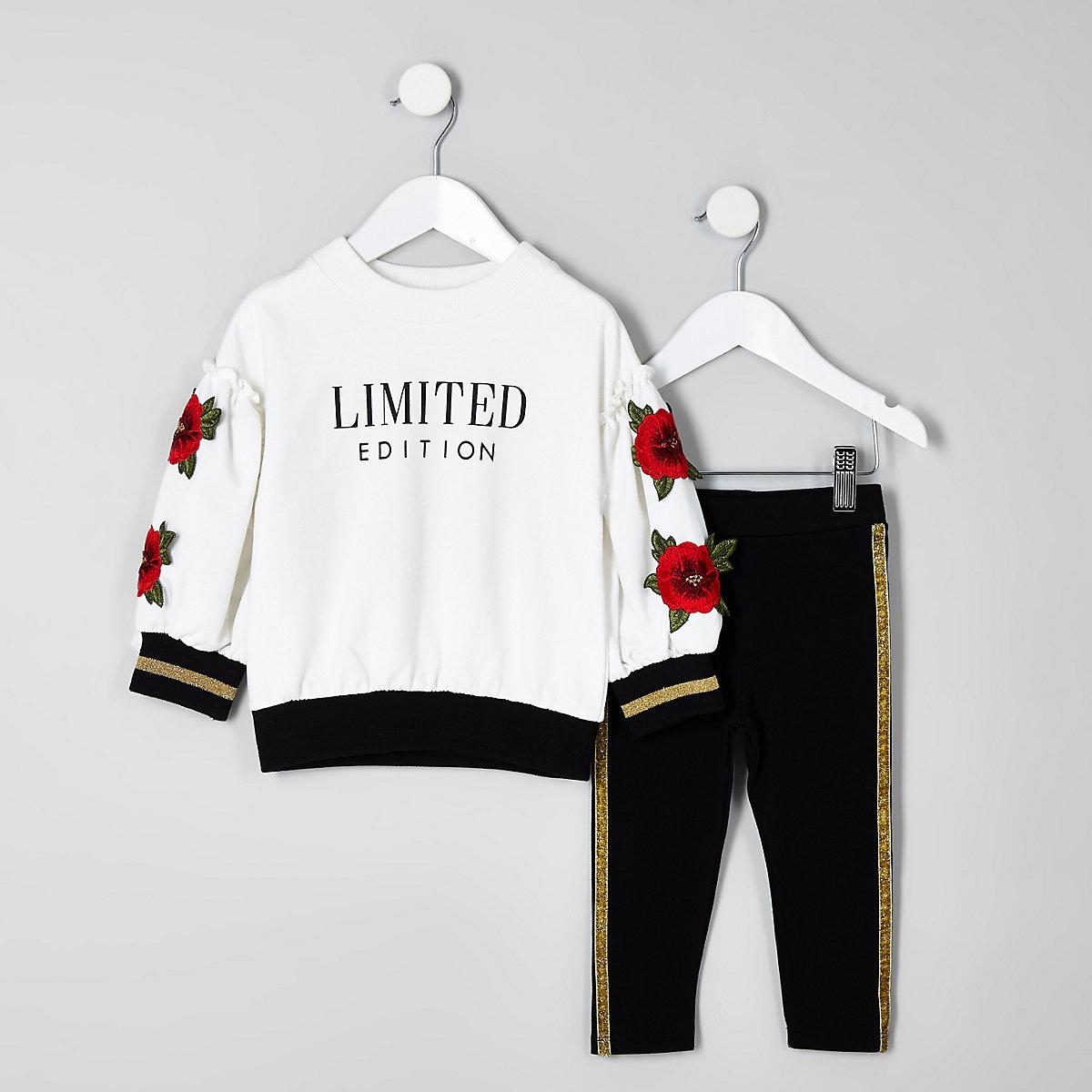 Mini girls cream flower sweatshirt set