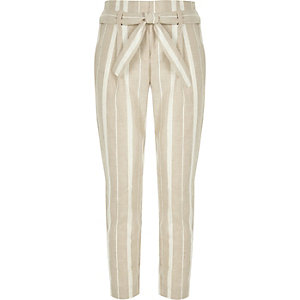 Girls beige stripe tie waist tapered pants