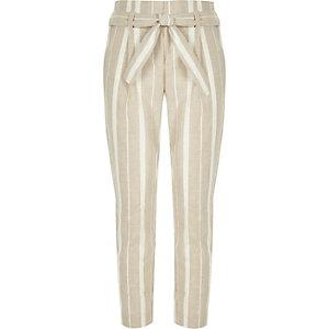 Beige gestreepte smaltoelopende broek met strikceintuur voor meisjes