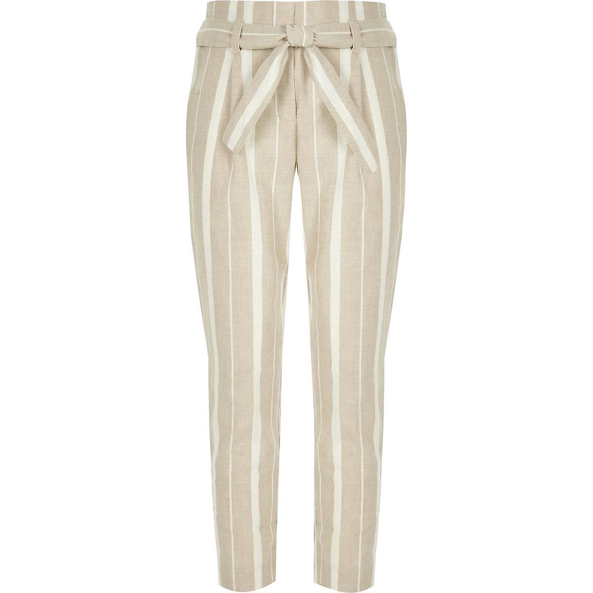 Girls beige stripe tie waist tapered pants