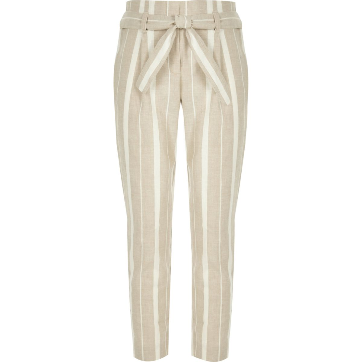 Girls beige stripe tie waist tapered trousers