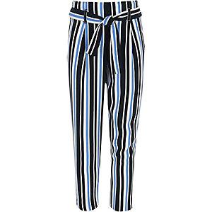 Girls blue stripe tie front trousers