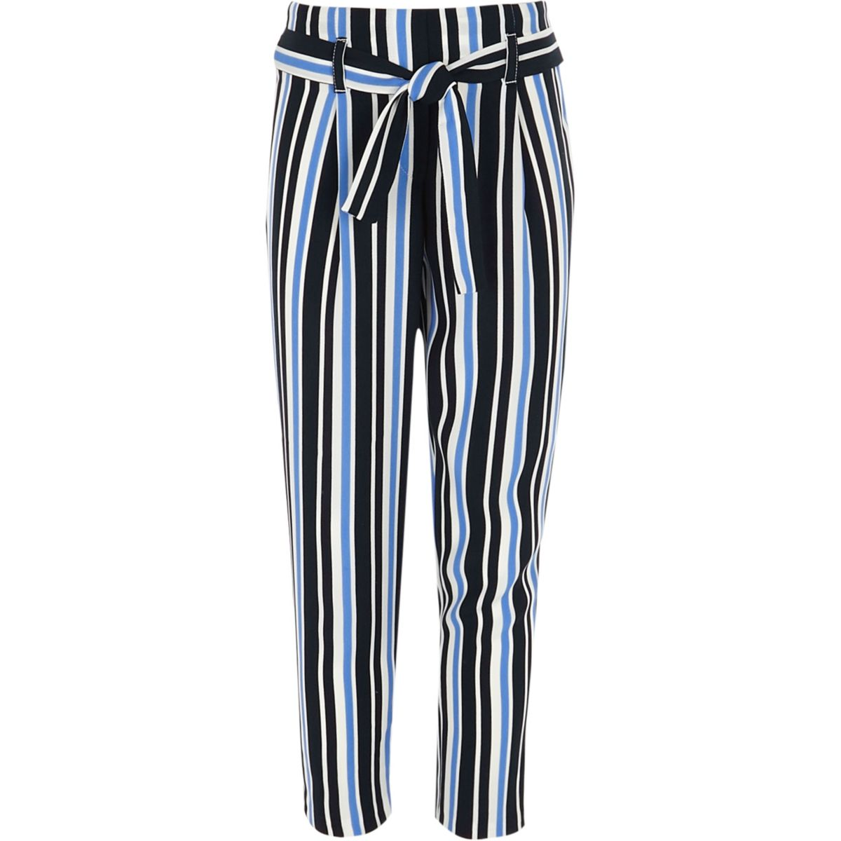 Girls blue stripe tie front trousers