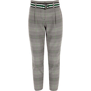 Girls green check belted trousers