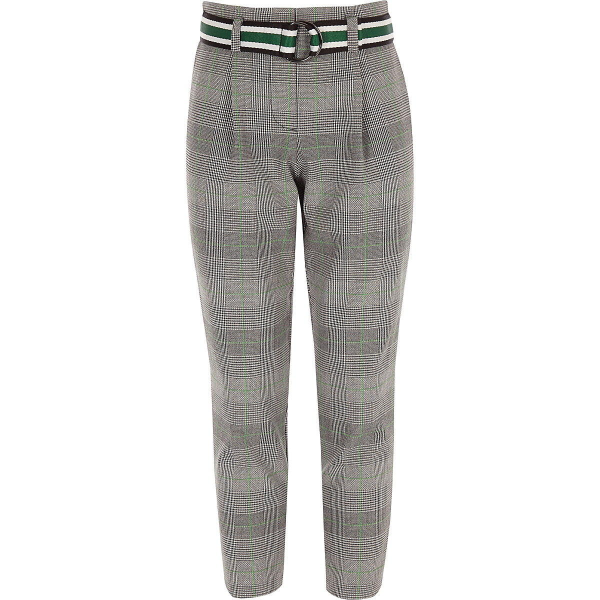 Girls green check belted pants