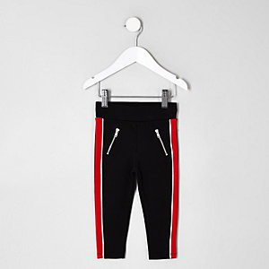 Mini girls black panel side leggings