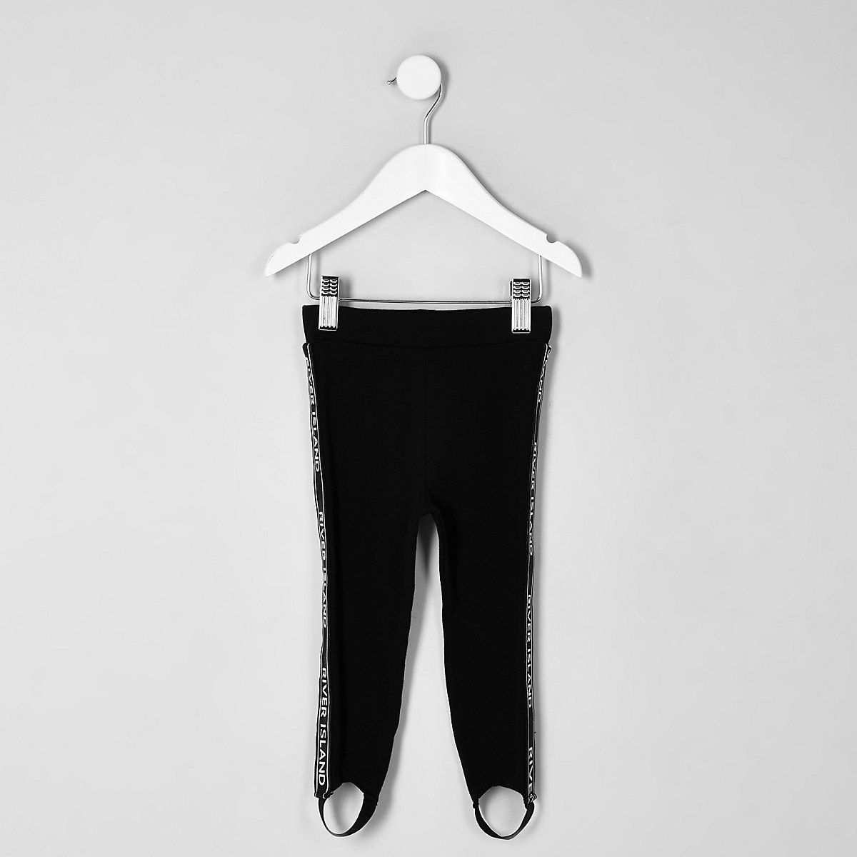 Mini girls black RI tape stirrup leggings