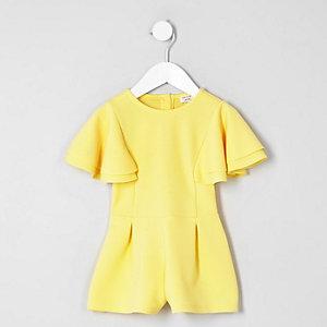 Combi-short jaune à manches à volants mini fille