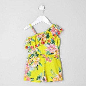 Combi-short à fleurs jaune à volants mini fille