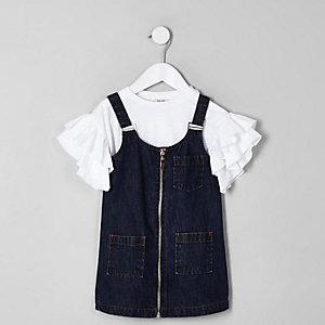 Mini girls blue zip front denim dress outfit