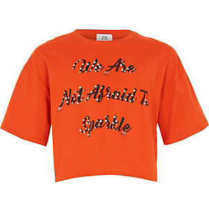 Girls orange 'not afraid' embellished T-shirt