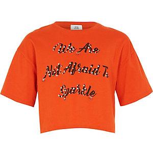 Oranje verfraaid T-shirt met 'not afraid'-print voor meisjes