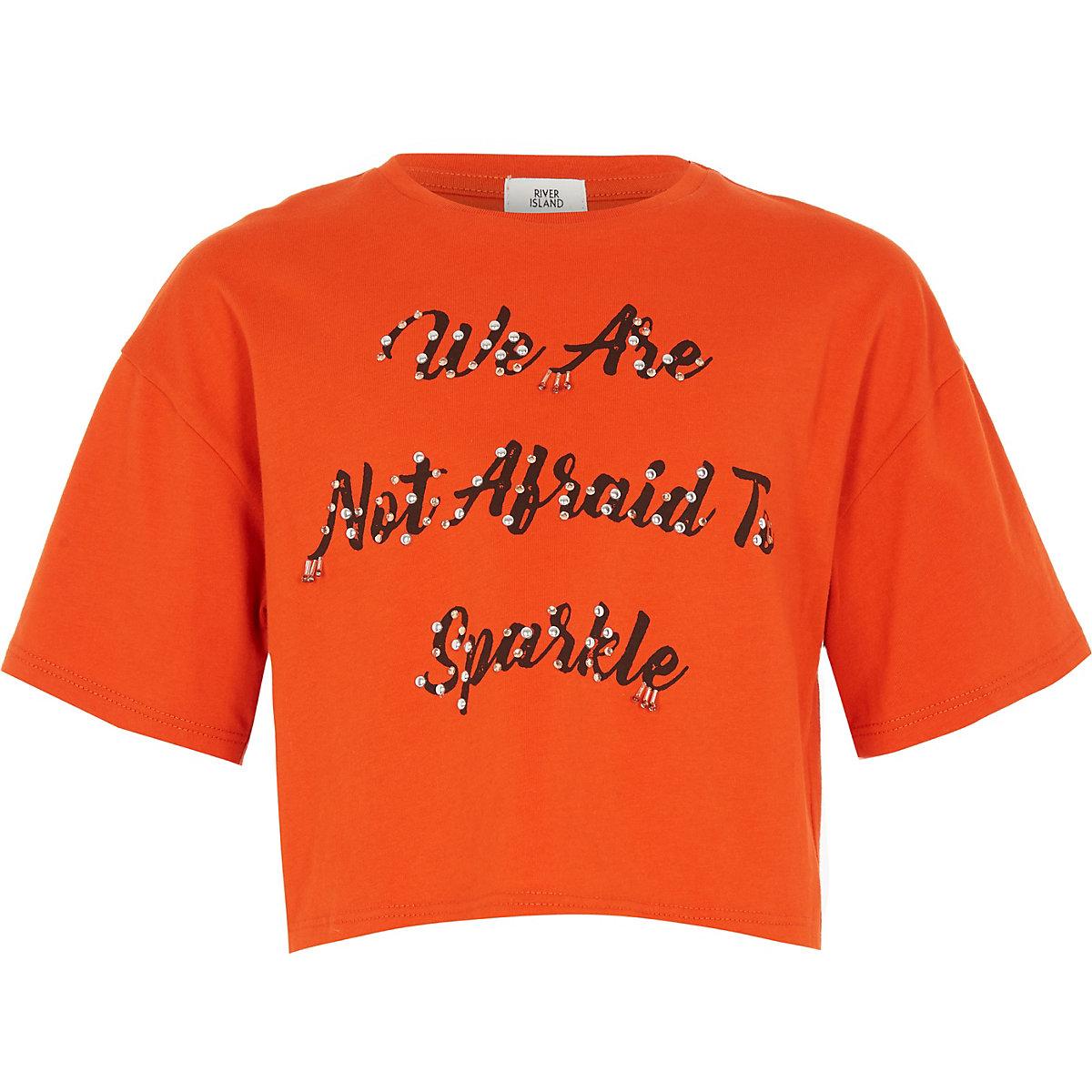 Girls orange 'not afraid' embellished T-shirt