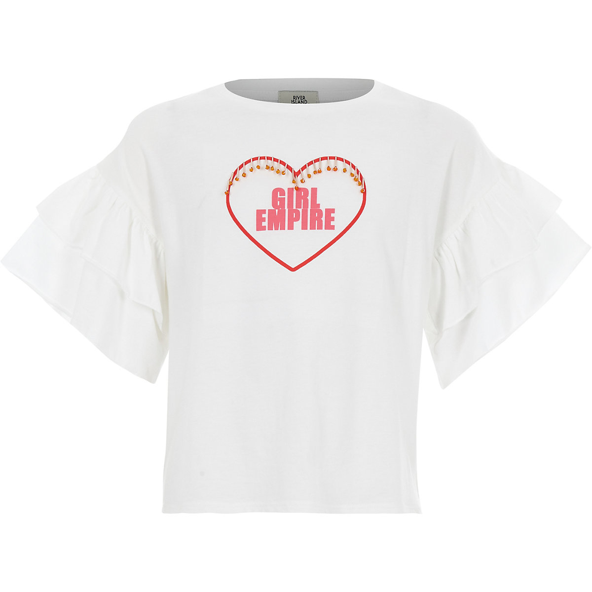 Girls white 'girls empire' T-shirt