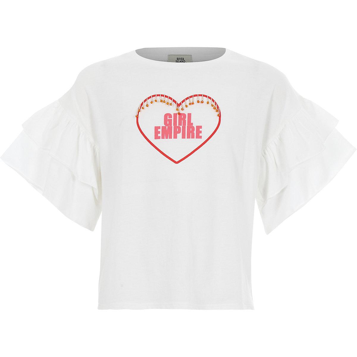 Girls white 'girls empire' T-shirt