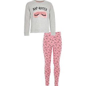 Girls grey 'nap queen' pajama set