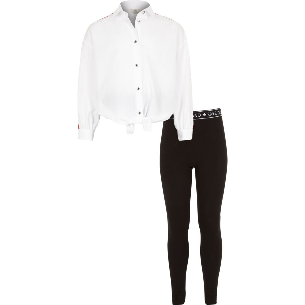 Girls white shirt and leggings outfit