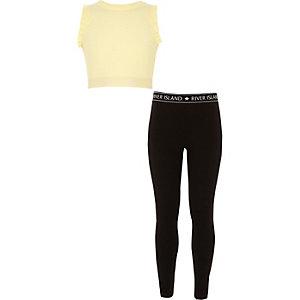Tenue avec crop top à volants jaune et leggings pour fille