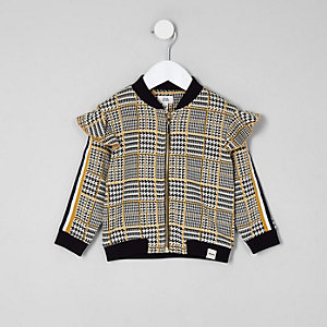 Mini girls check frill tape bomber jacket