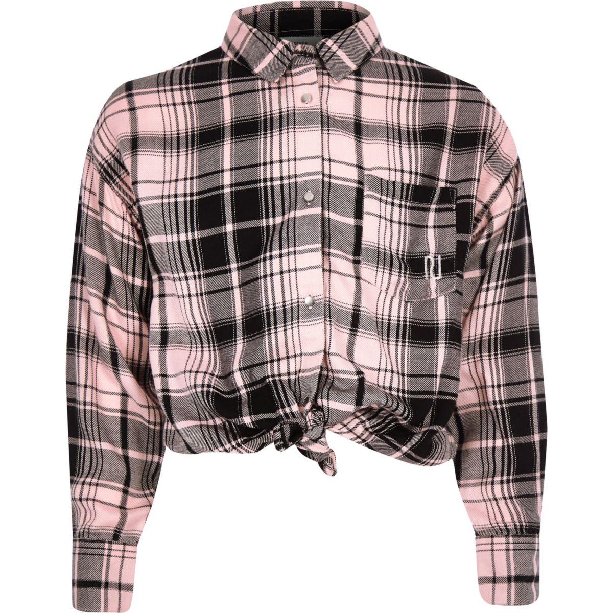 Girls pink check back print shirt