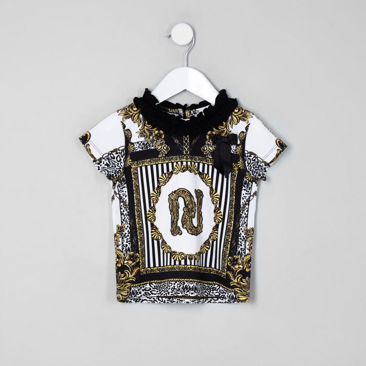 RI 30 mini girls cream frill baroque T-shirt
