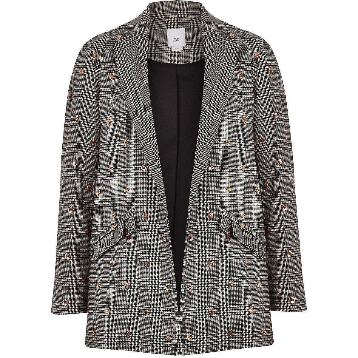 Girls black check sequin slouch blazer