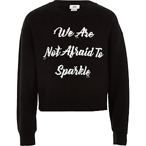 Girls black 'not afraid' embellished jumper