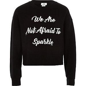 Pull «not afraid» noir orné pour fille