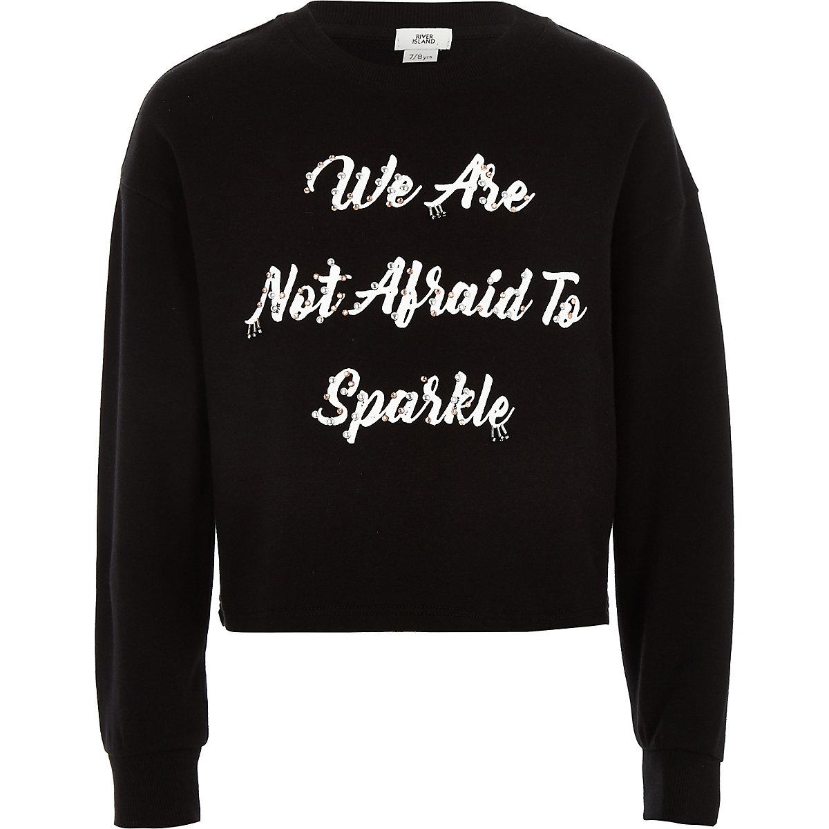 Girls black 'not afraid' embellished sweater