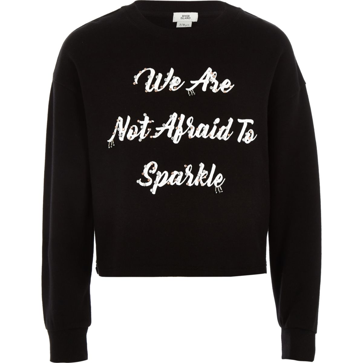 Girls black 'not afraid' embellished sweater