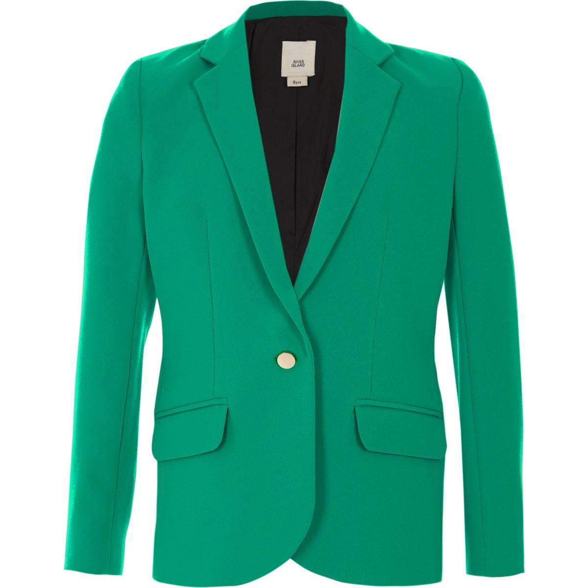 Girls green button-up blazer