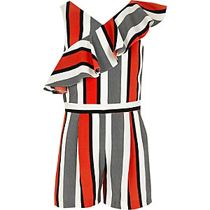 Girls red stripe frill playsuit