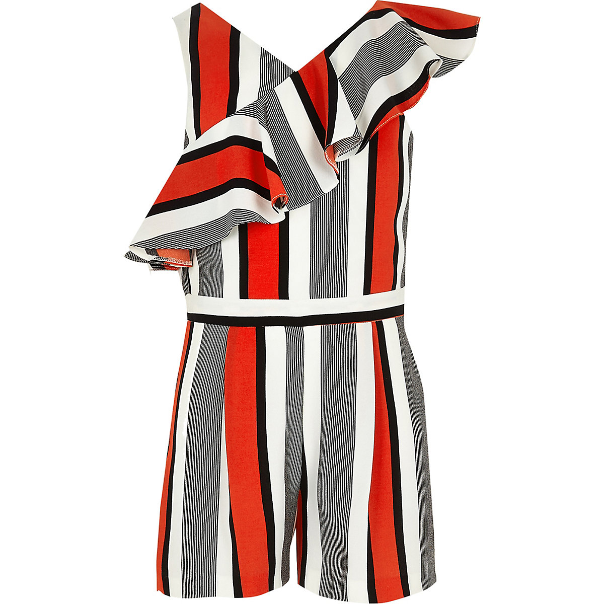 Girls red stripe frill romper