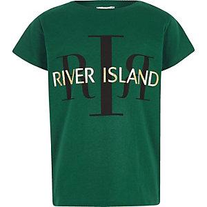 RI 30 – T-shirt vert à logo RI pour fille