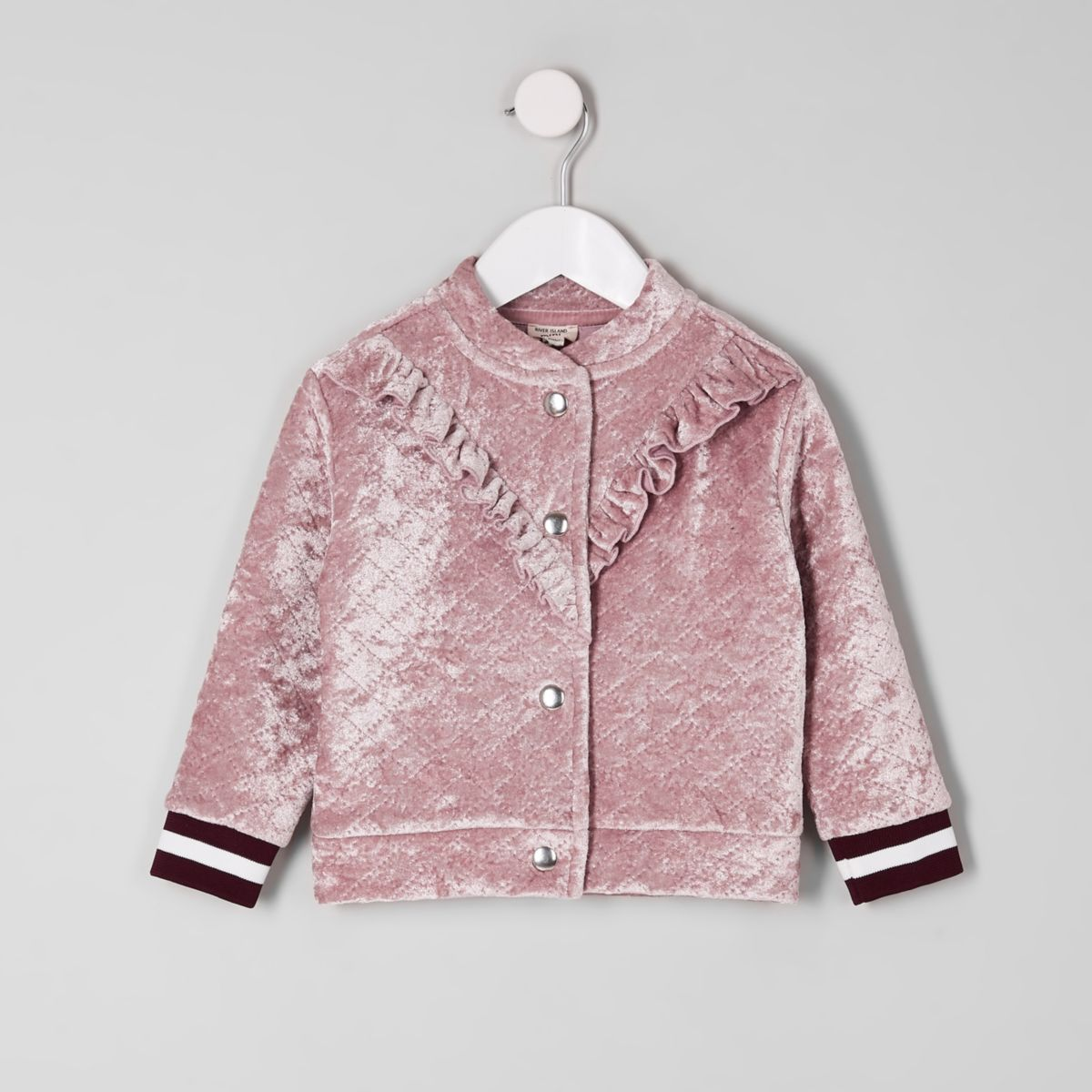 Mini girls pink frill velvet bomber jacket