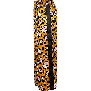 Bruine broek met luipaardprint en bies opzij voor meisjes