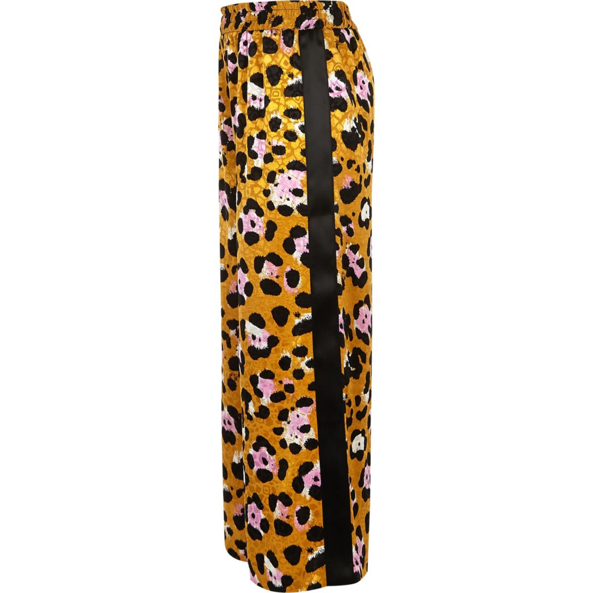 Girls brown leopard print tape side pants