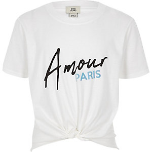 Girls white 'amour' knot front T-shirt