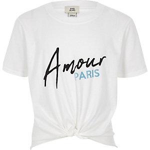 Wit T-shirt met 'amour'-print en knoop voor meisjes