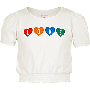 Girls white 'love' puff sleeve T-shirt