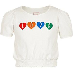 Wit T-shirt met 'love'-print en pofmouwen voor meisjes