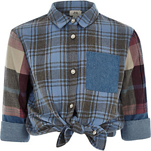 Girls blue check diamante button shirt