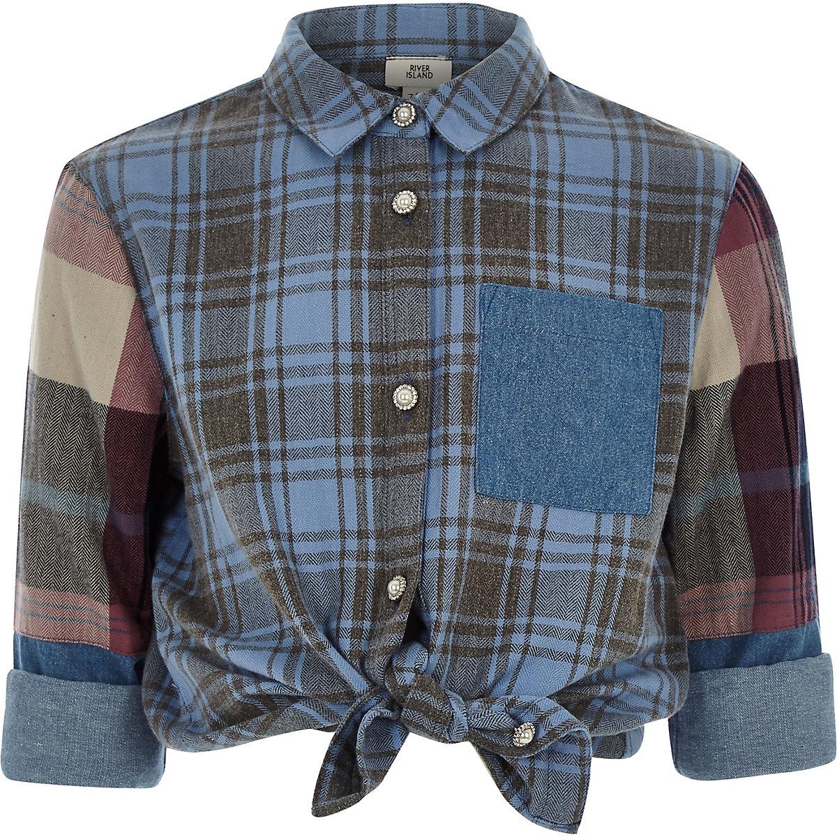Girls blue check rhinestone button shirt