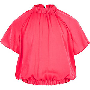 Girls pink ruffle blouse