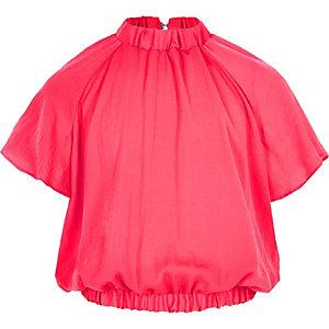 Roze blouse met bloemenprint en ruches